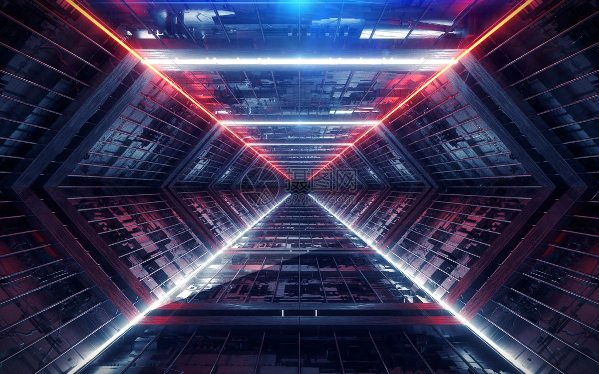 科幻空间几何通道图片