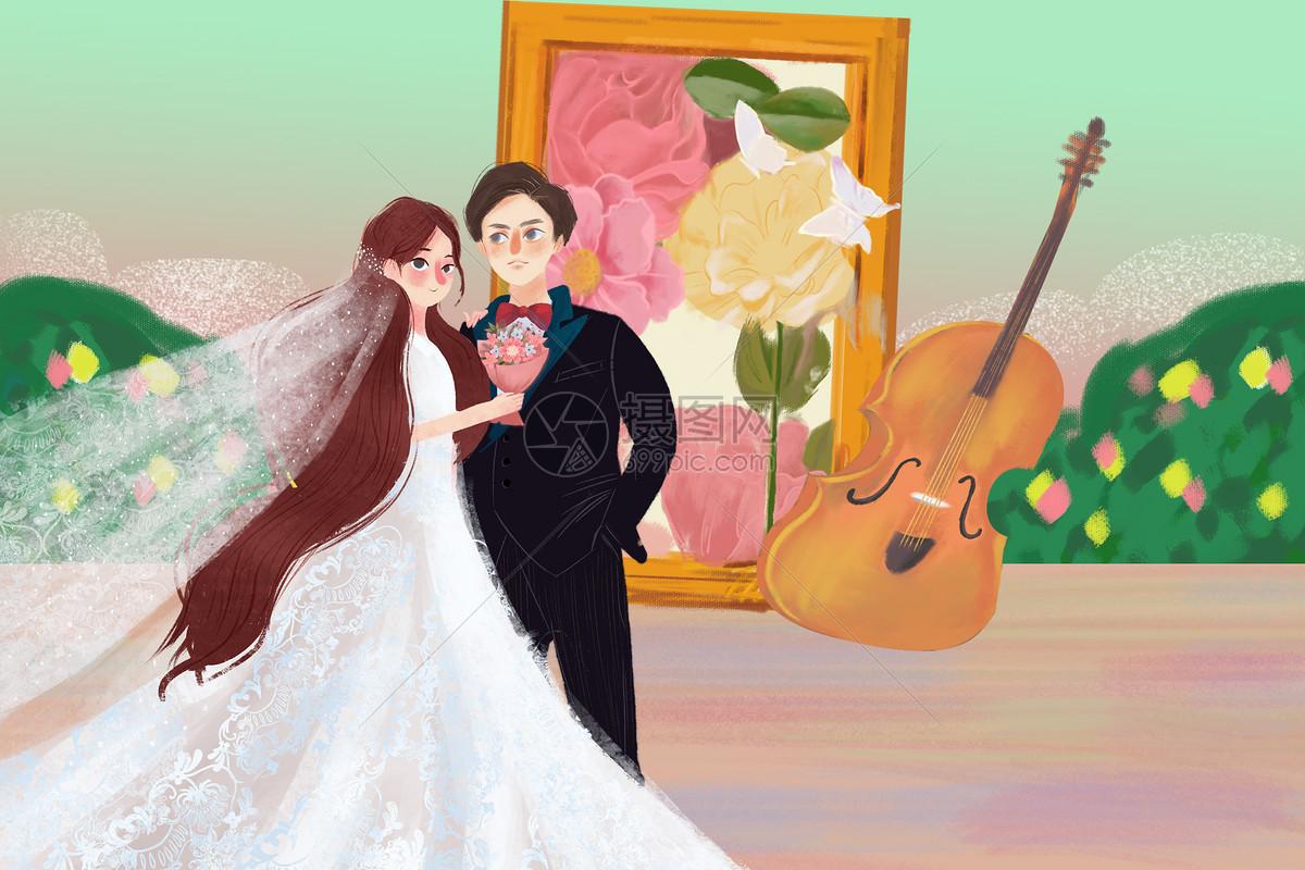 浪漫情侣婚恋插画图片