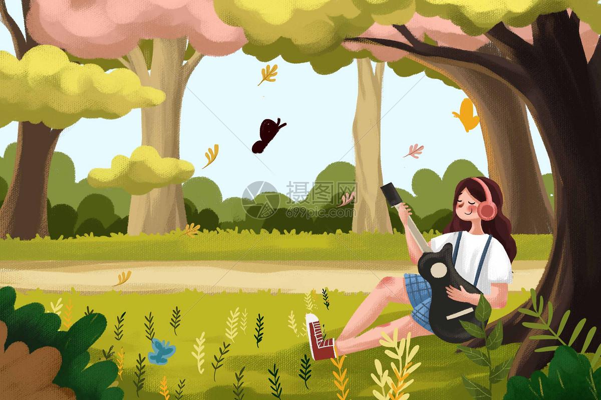 树下弹吉他的女孩图片
