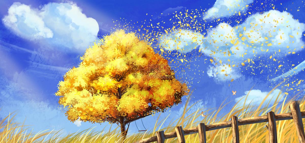 秋天被风吹散的树叶图片
