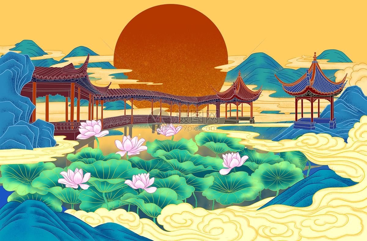 节日喜庆仙境背景图片