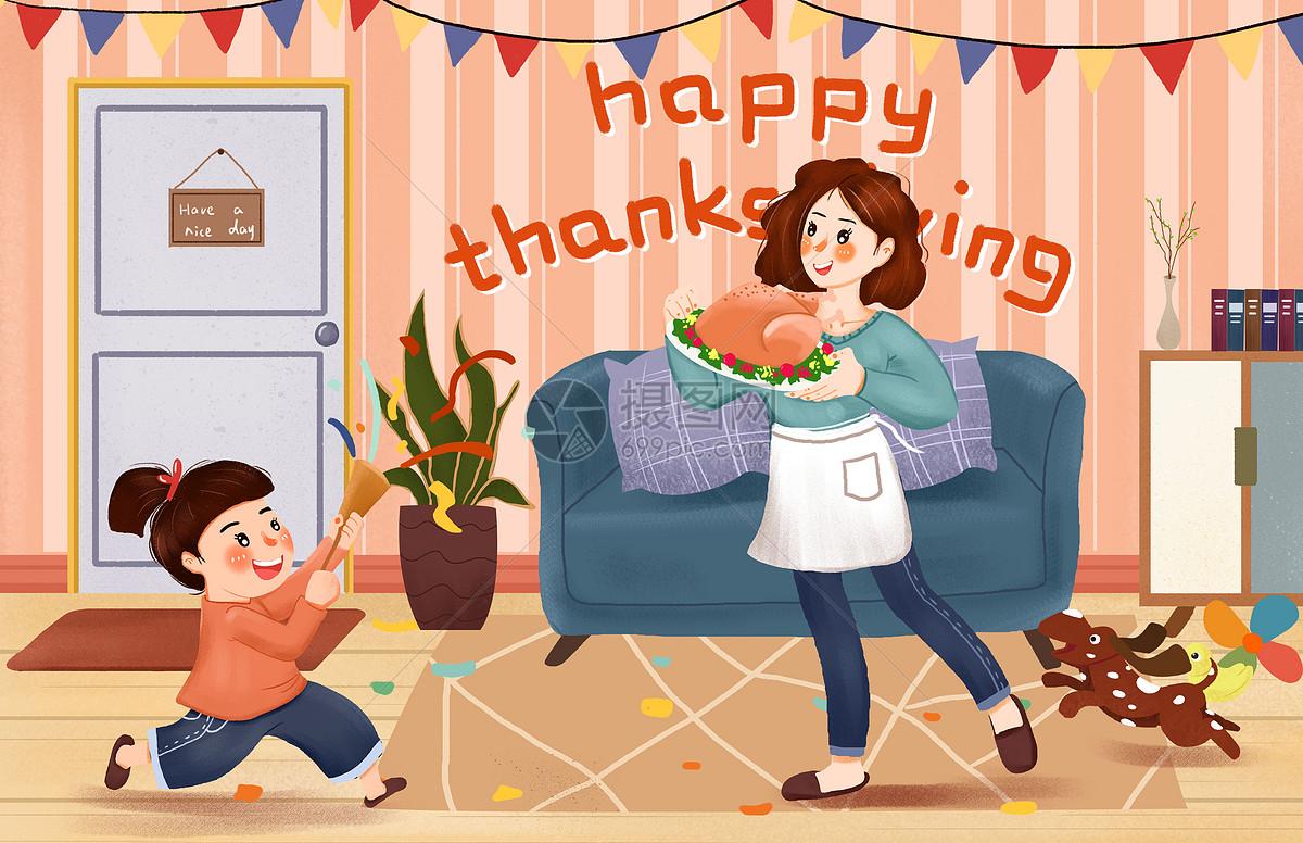 节日之感恩节吃火鸡插画图片