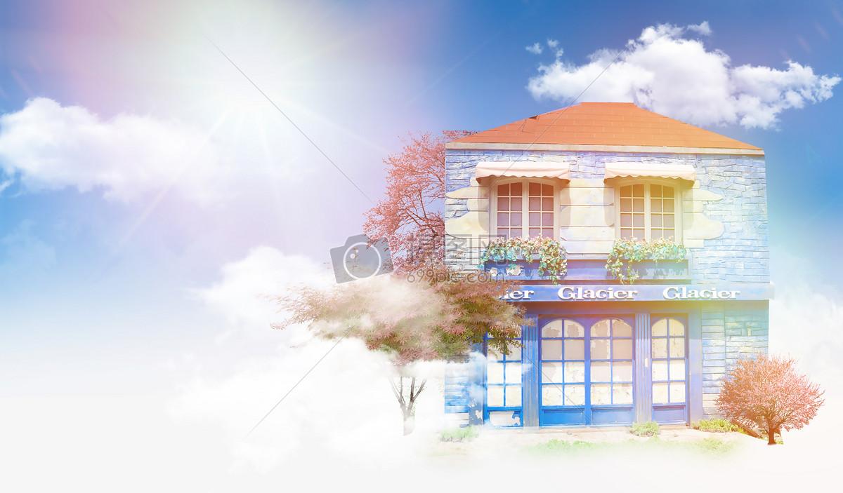 天空中欧美风格房子