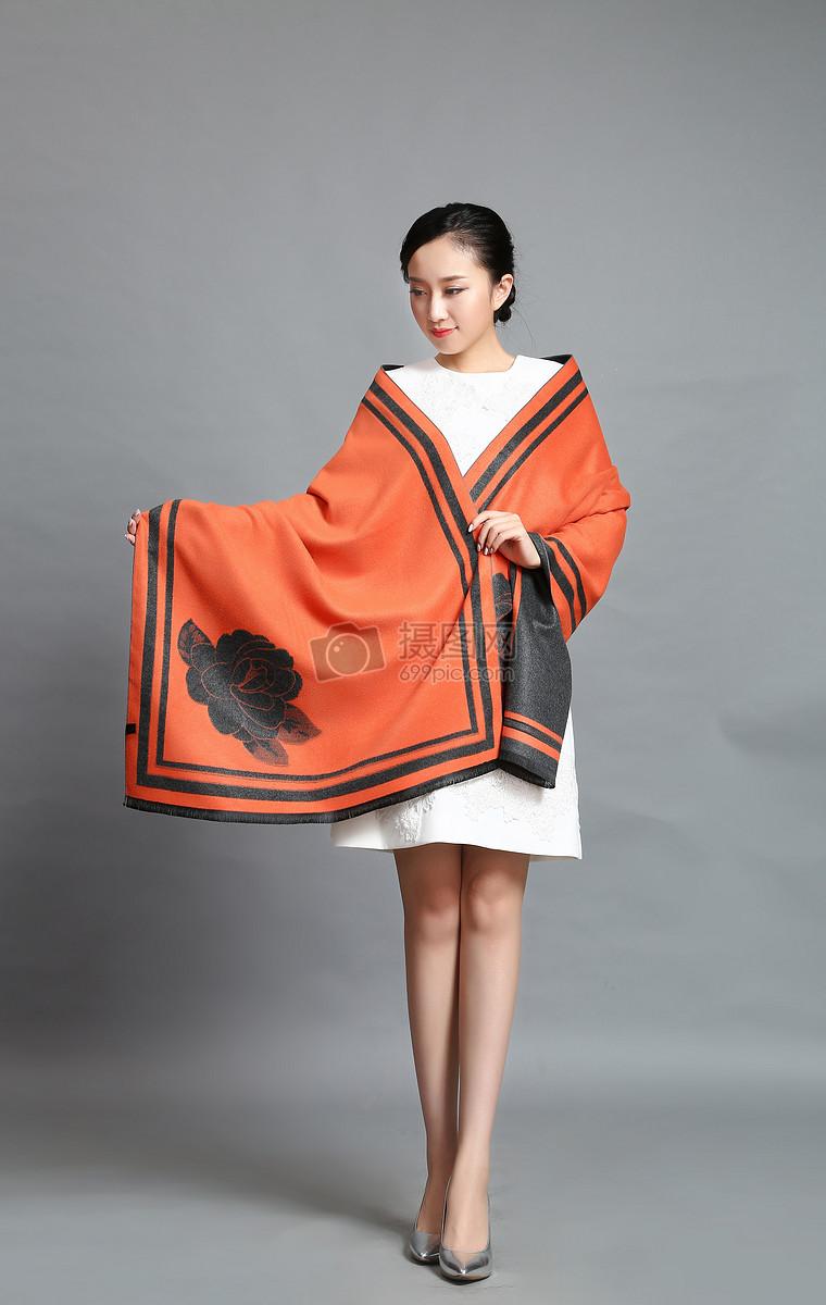 丝巾模特橙色