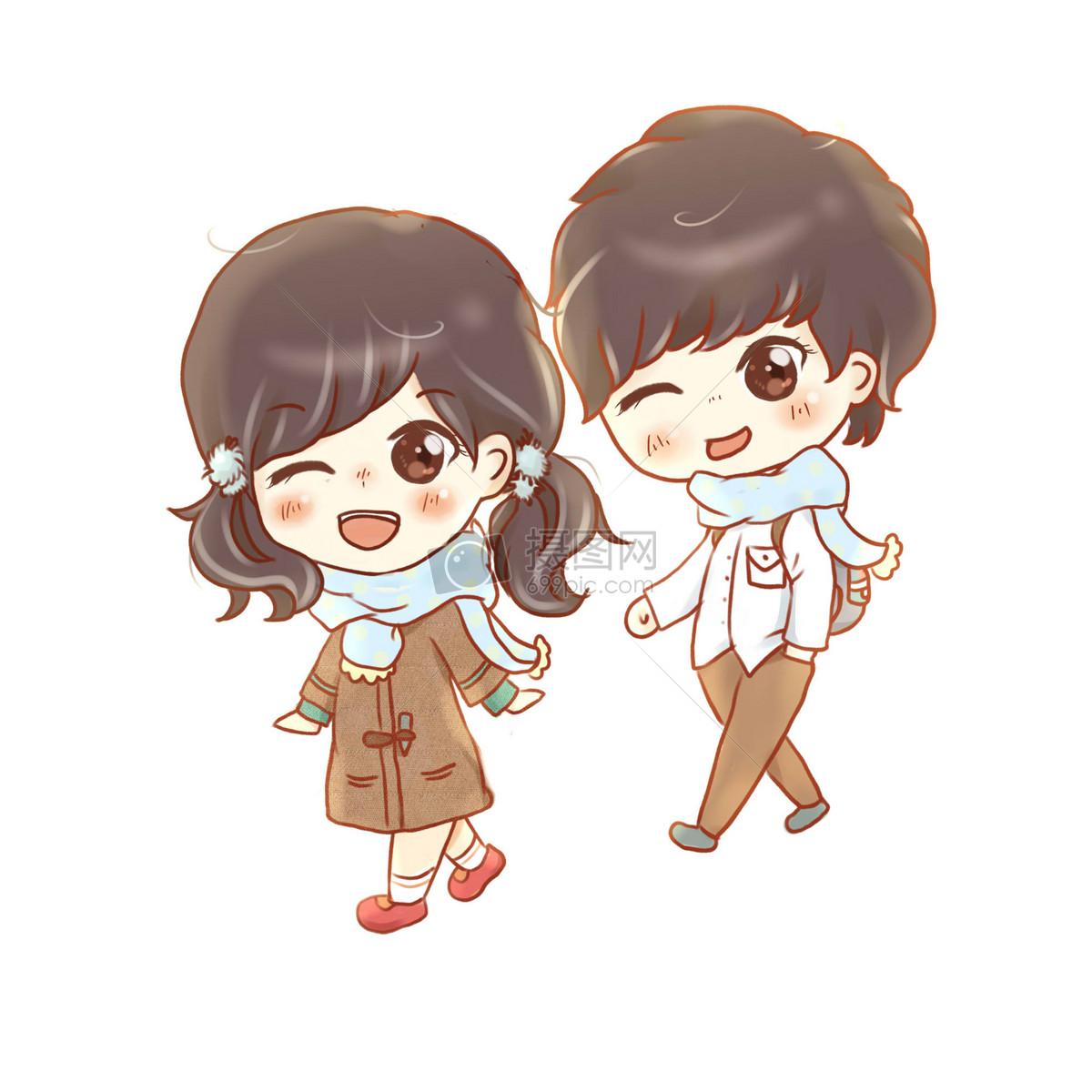 卡通头像手绘手绘七夕情人节可爱情侣插画图片手绘七夕情人节可爱情侣