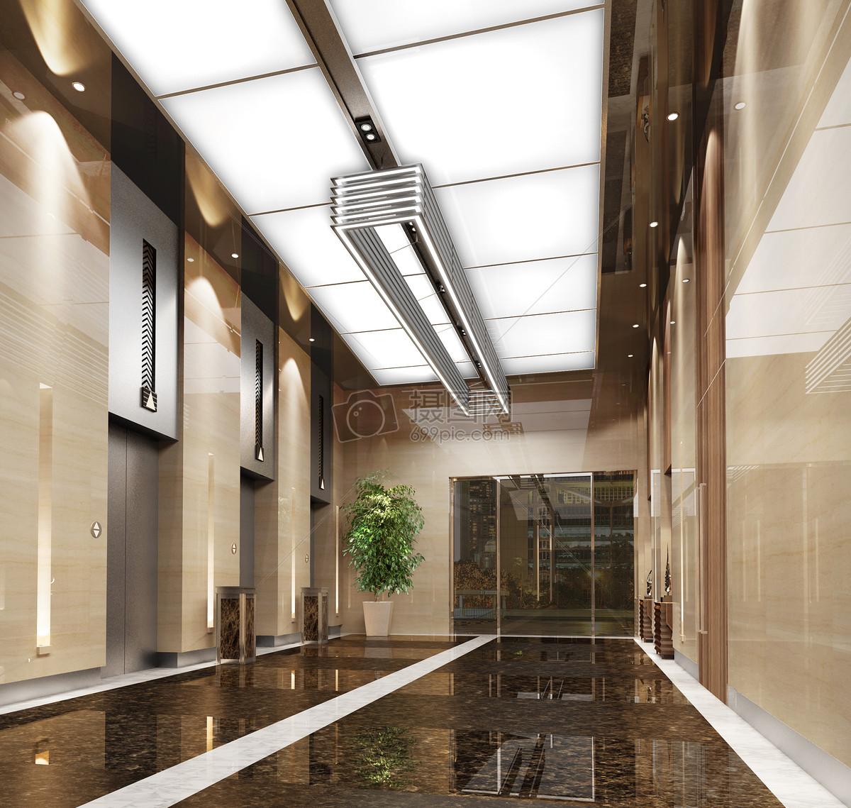 现代办公楼走廊效果图