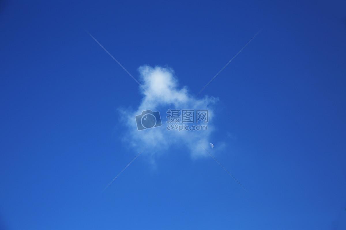 蓝色天空白云月亮图片素材_免费下载_jpg图片格式_vrf