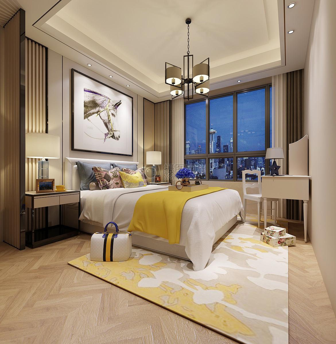 现代卧室效果图摄影图片免费下载_室内设计图库大全