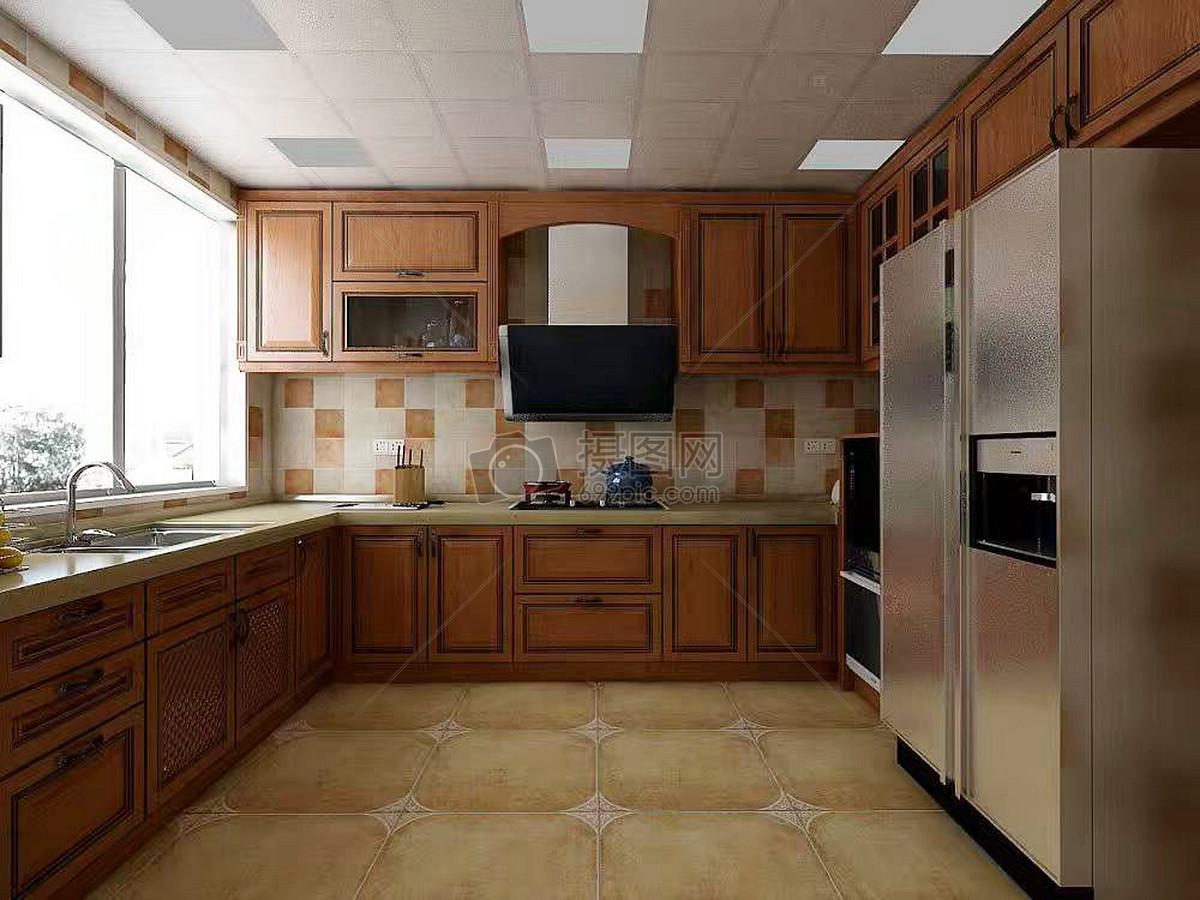 复古欧式厨房效果图图片