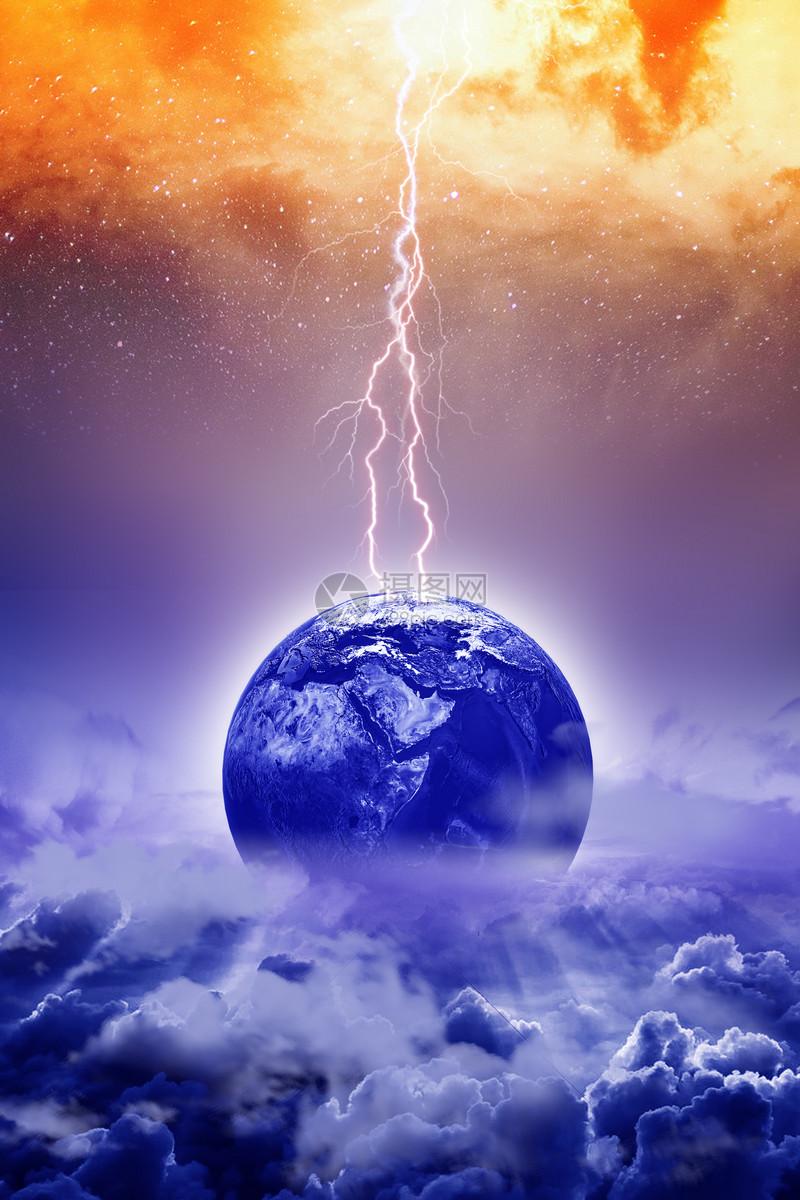 蓝色背景线条虚拟闪电魔幻高科技素材科技天空光点星空白光科幻白色