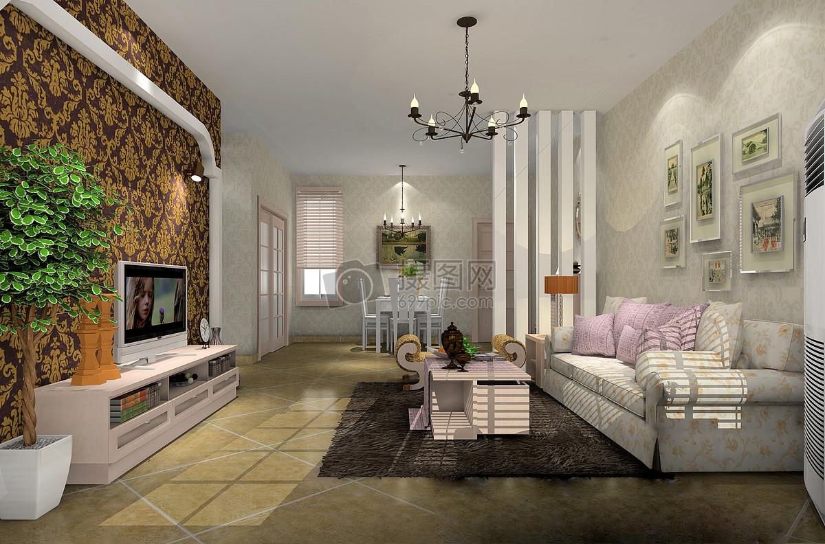 现代简约客厅效果图摄影图片免费下载_室内设计图库