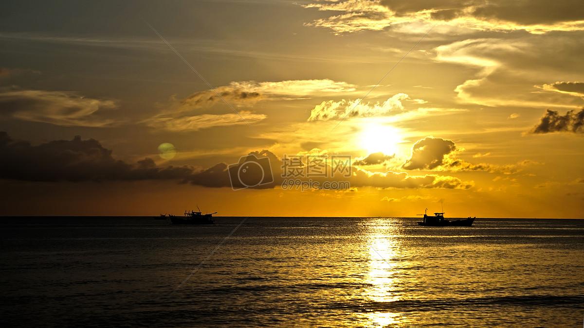海滩夕阳摄影图片免费下载_自然/风景图库大全_编号