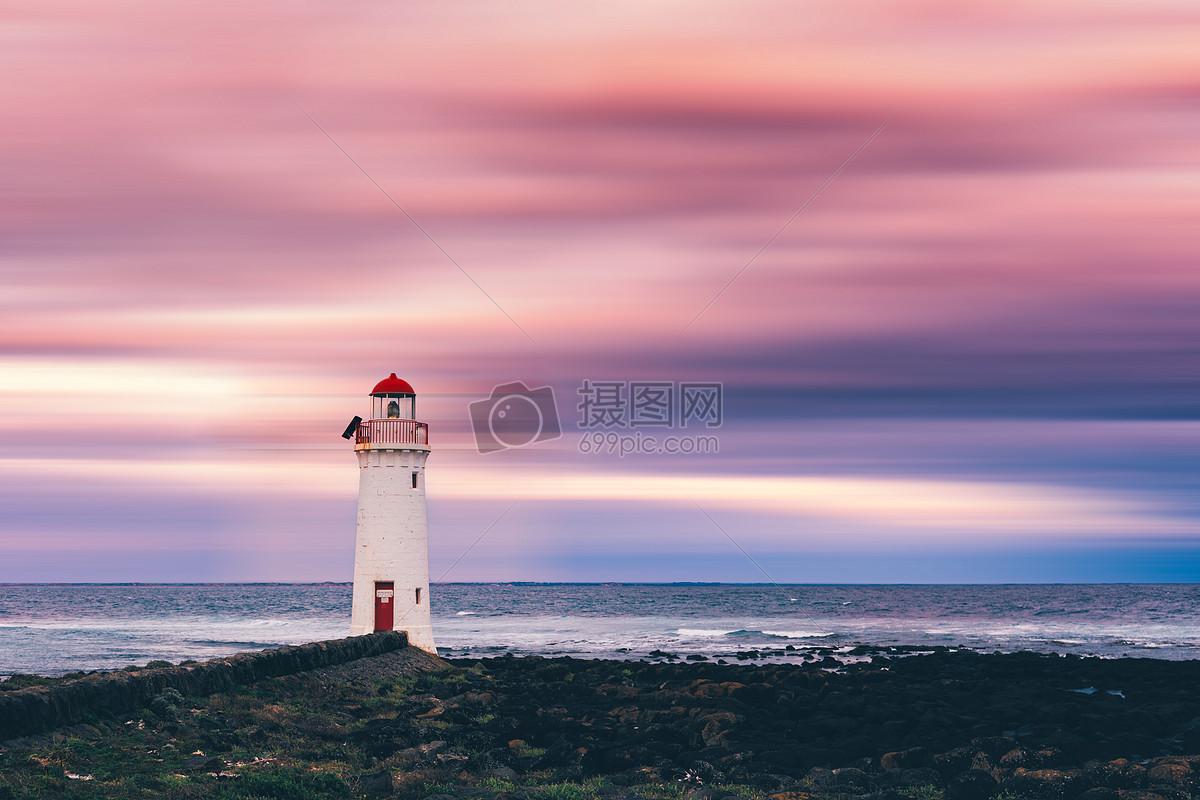 粉红色 灯塔 海