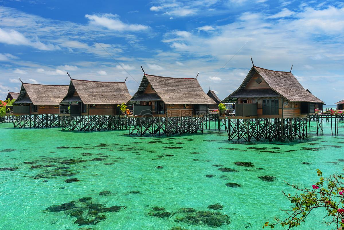 海岛度假蜜月水屋建筑