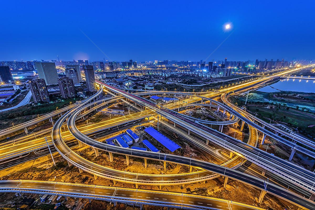 城市发展建设立交桥夜景