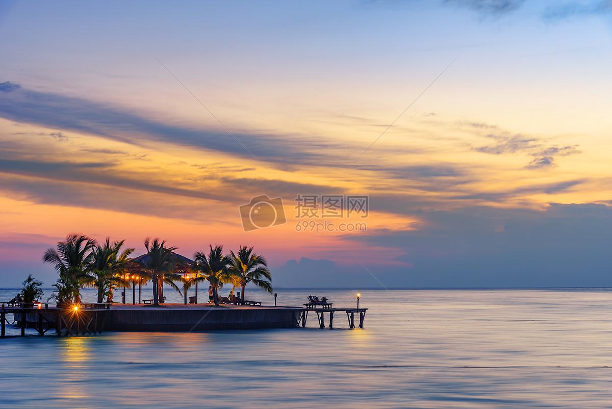 唯美图片 自然风景 海岛日落风光jpg