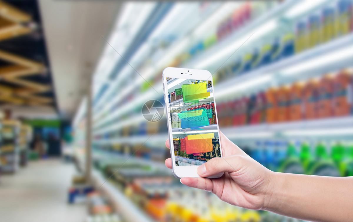 手机扫描超市货柜图片