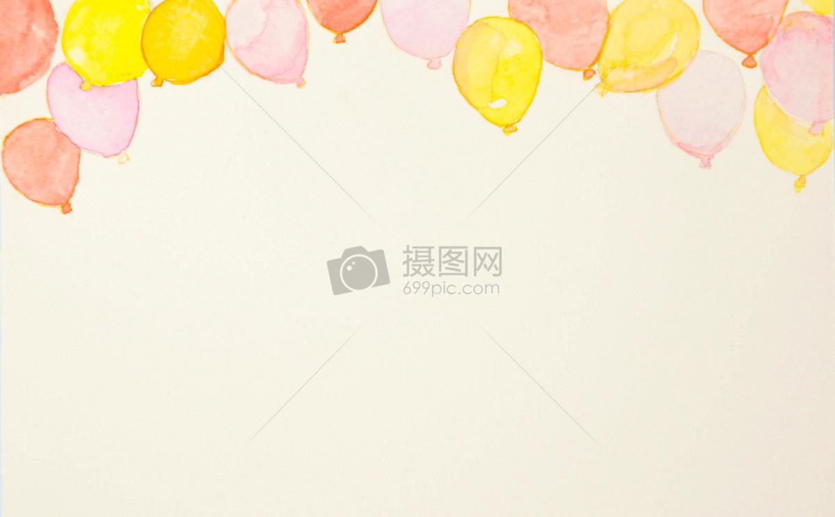 手绘水彩气球背景