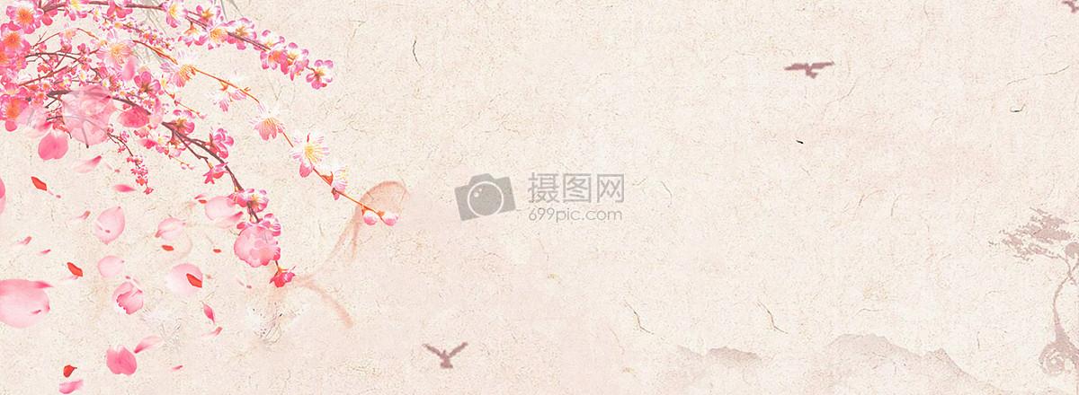 桃花落叶banner背景图片