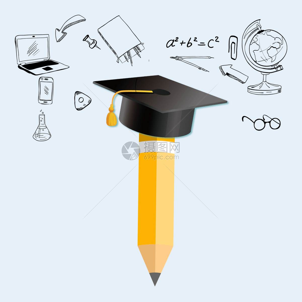 标签: 教育灯泡铅笔手绘学士帽博士帽学习图标创意合成带博士帽的
