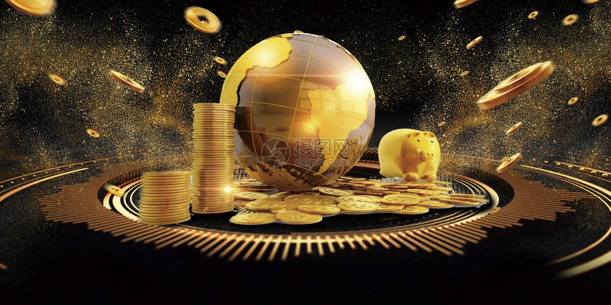 金色地球商务金融banner背景
