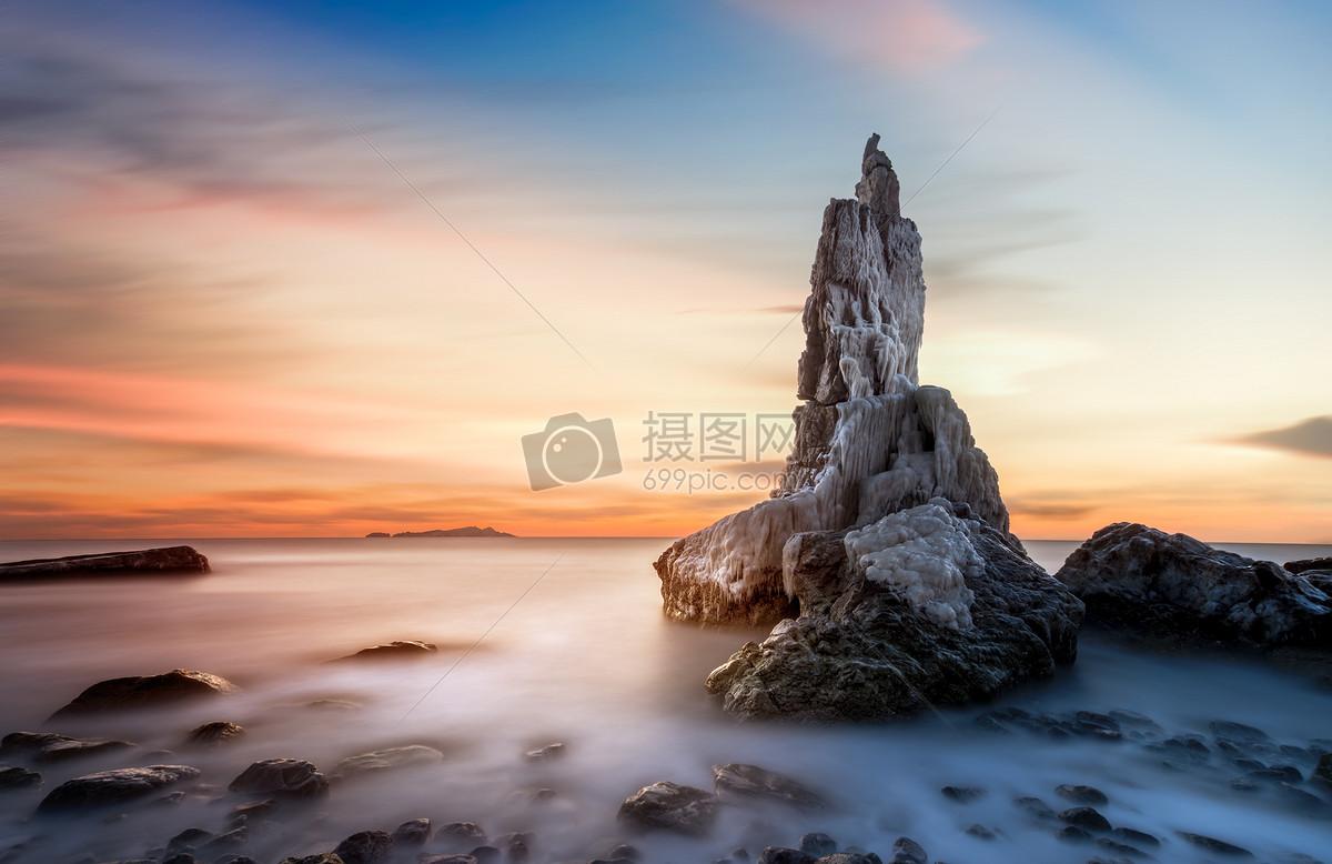 无边无际的夕阳海景礁石图片素材_免费下载_jpg图片