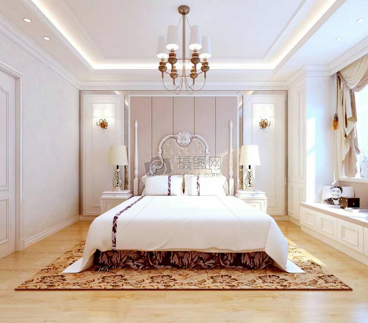 后现代卧室效果图摄影图片免费下载_室内设计图库大全