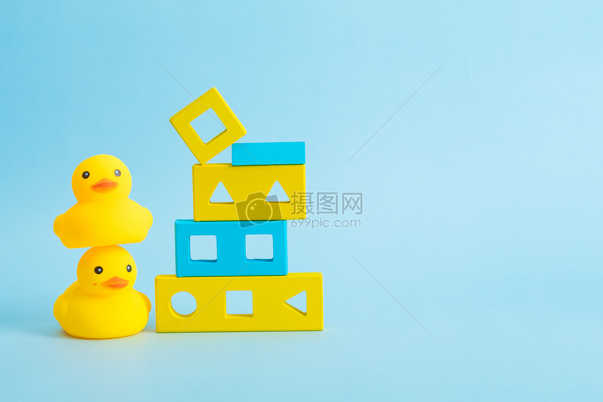 儿童节小黄鸭积木海报素材