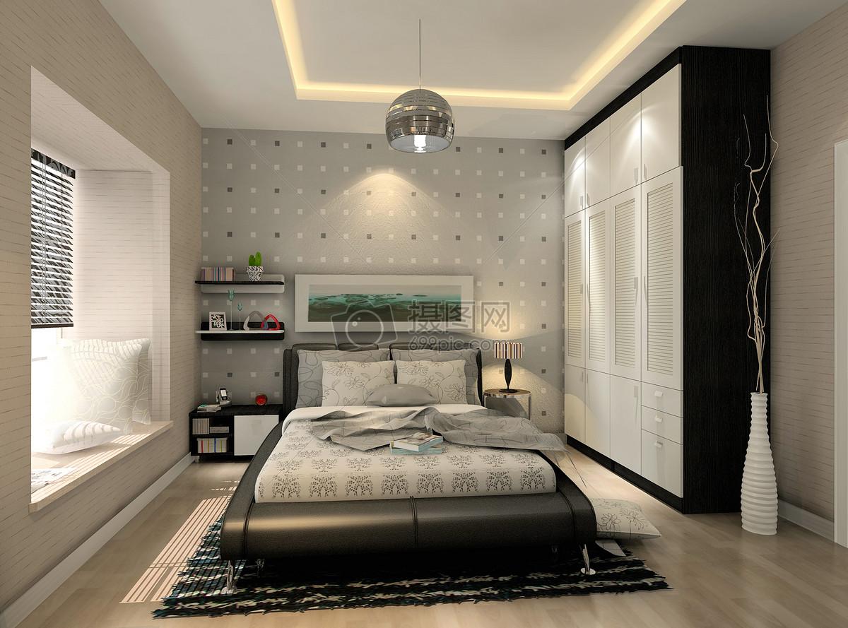 深色卧室效果图