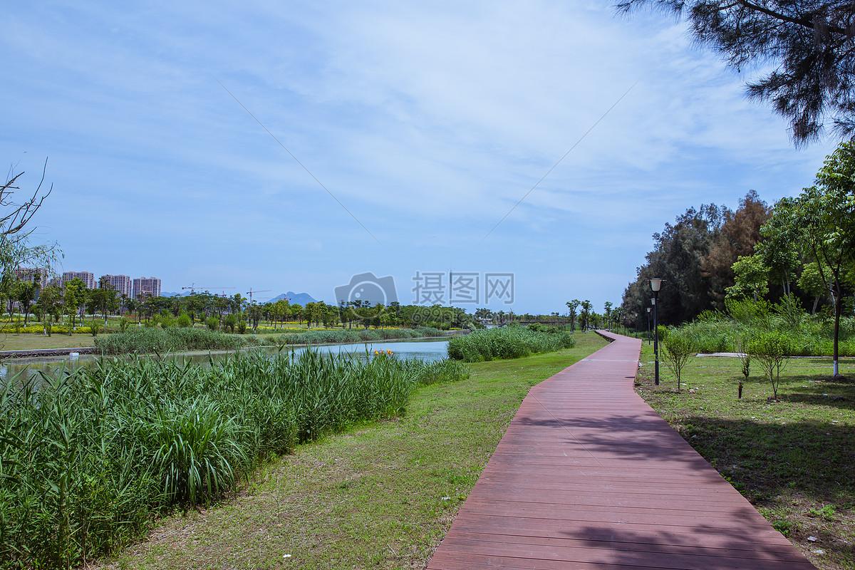 蓝天白云公园健身散步路风景摄影图片免费下载_自然
