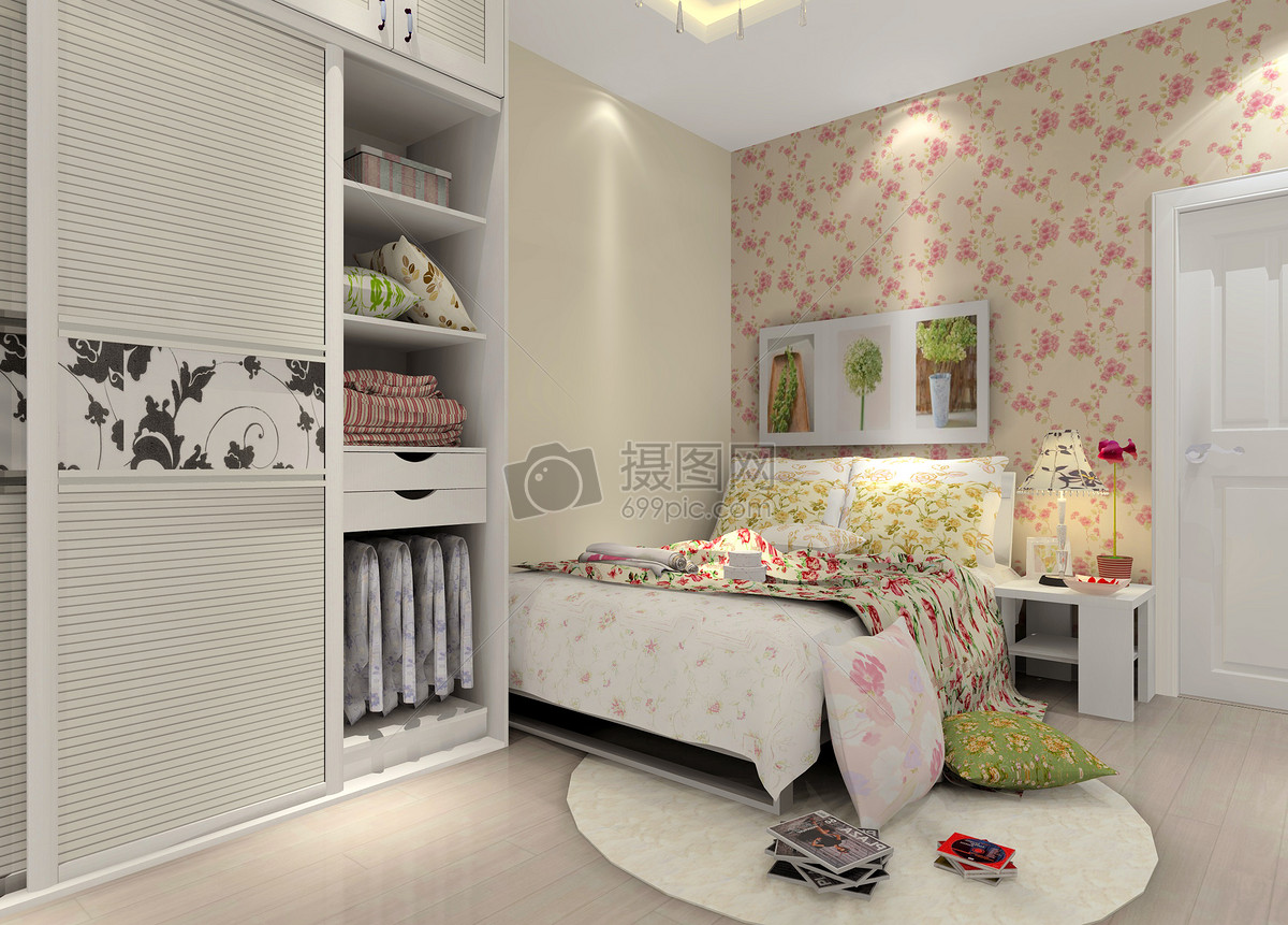 暖色的卧室衣柜效果图