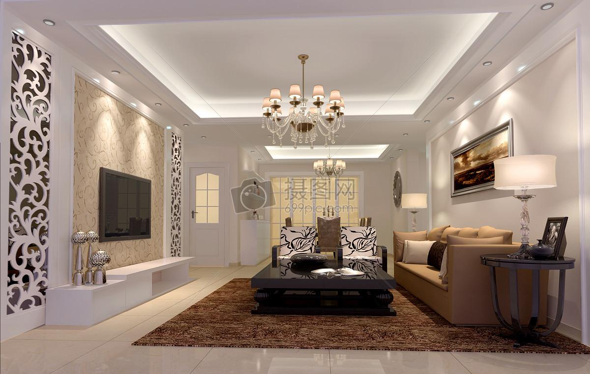 简欧石膏线电视背景墙简约舒适雕花装修欧式效果图大气吊顶设计客厅