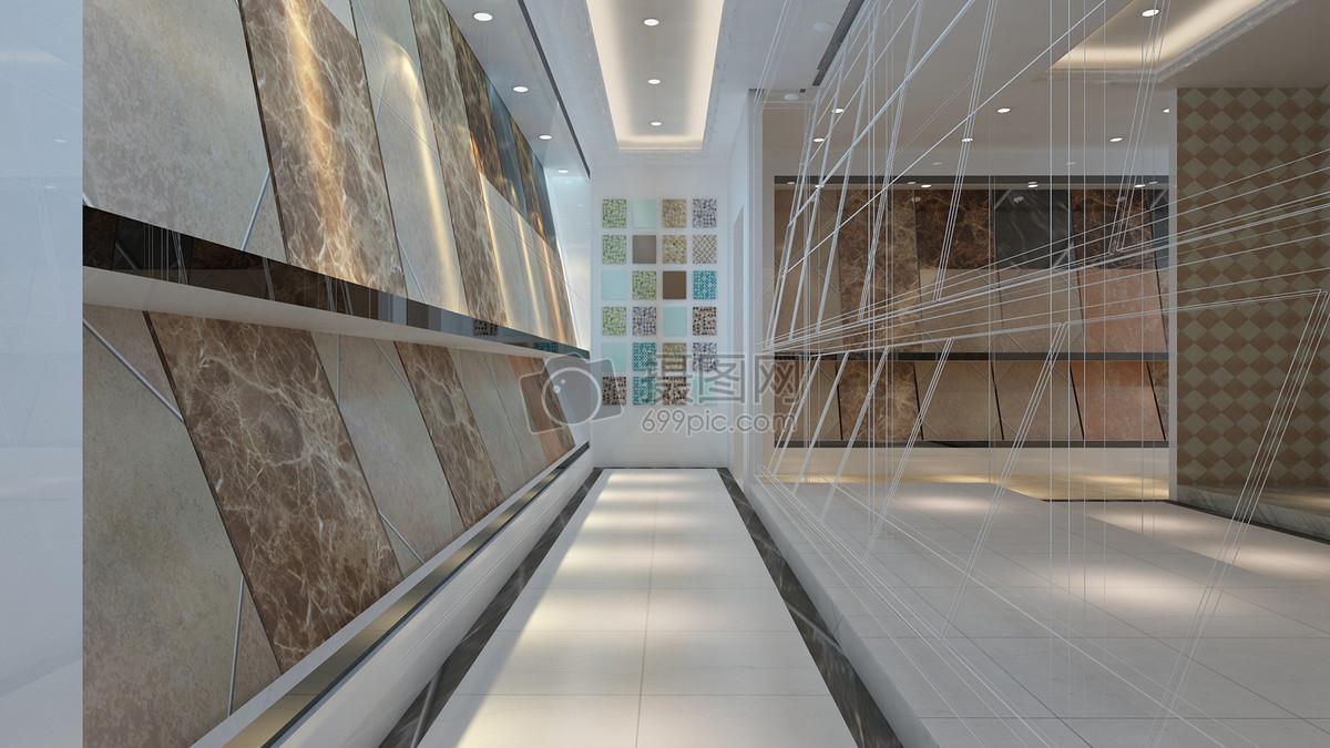 市场建材专卖店效果图商用空间墙纸展区设计室内效果图展示卖场设计瓷