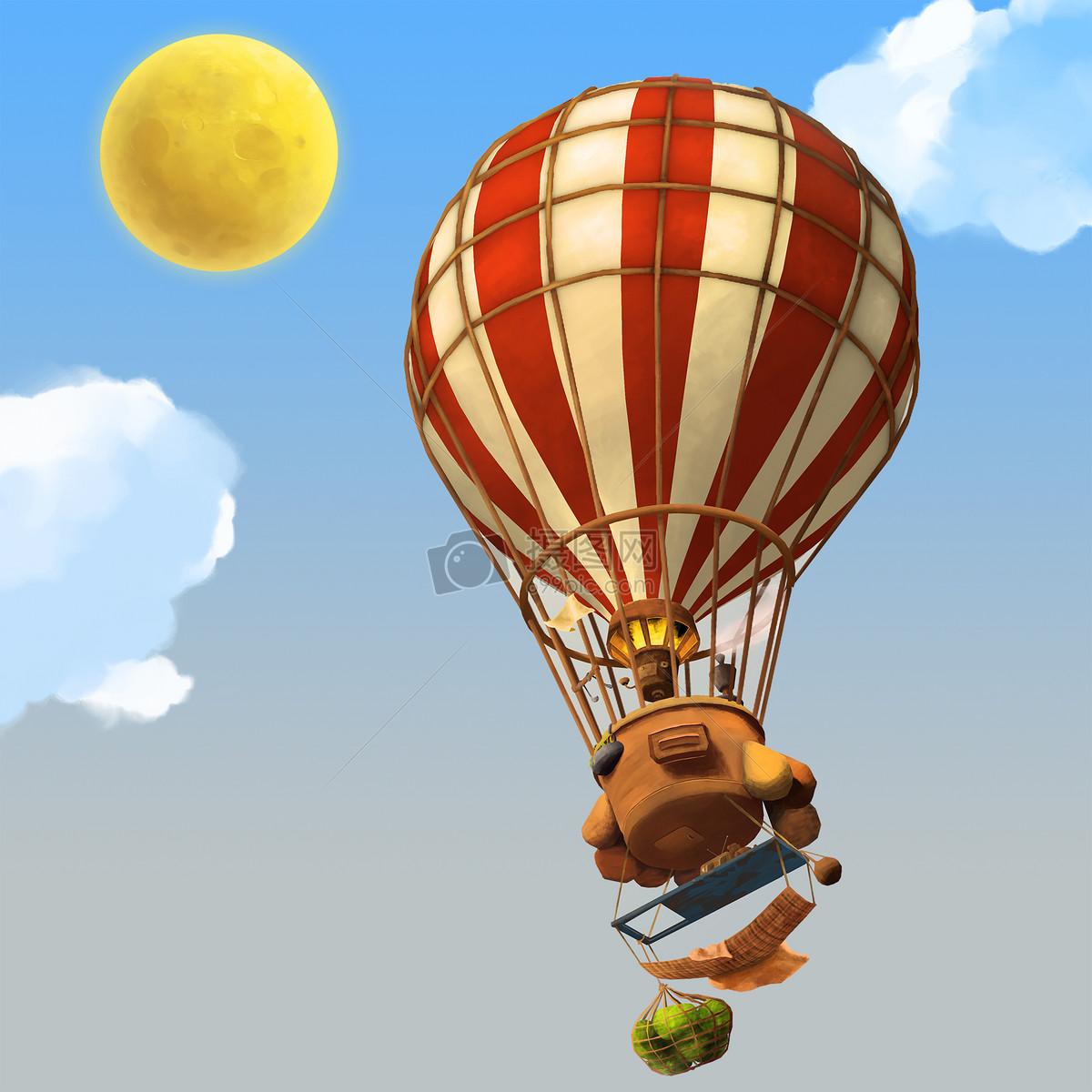 创意手绘-热气球飞行在天空图片素材_免费下载_jpg__.
