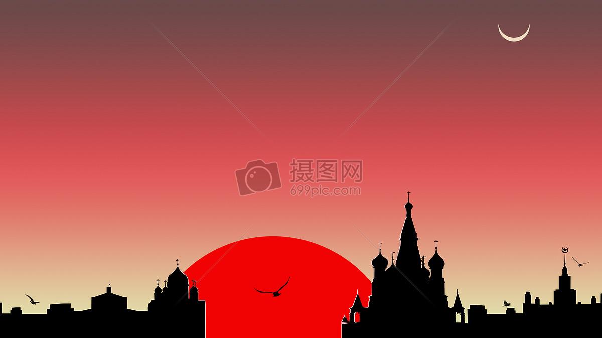手绘-日落天空
