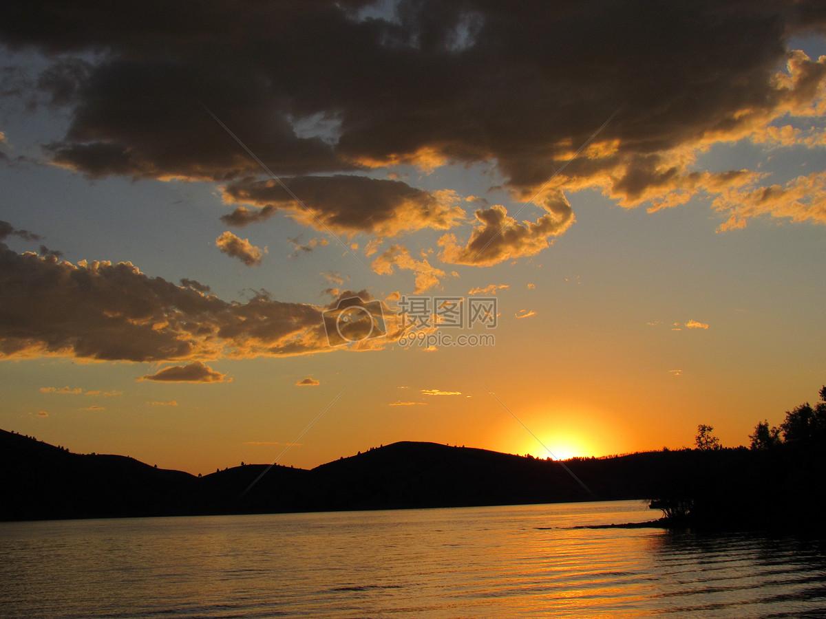 海滩的夕阳余晖摄影图片免费下载_自然/风景图库大全