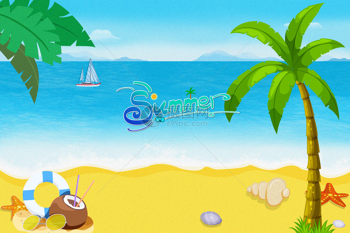 摄图网 创意合成 背景素材 海边夏日卡通矢量海报.jpg
