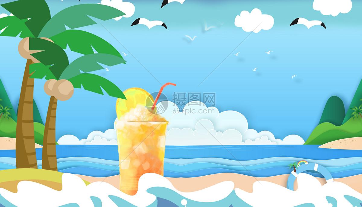 炎热的夏天喝着饮料的太阳