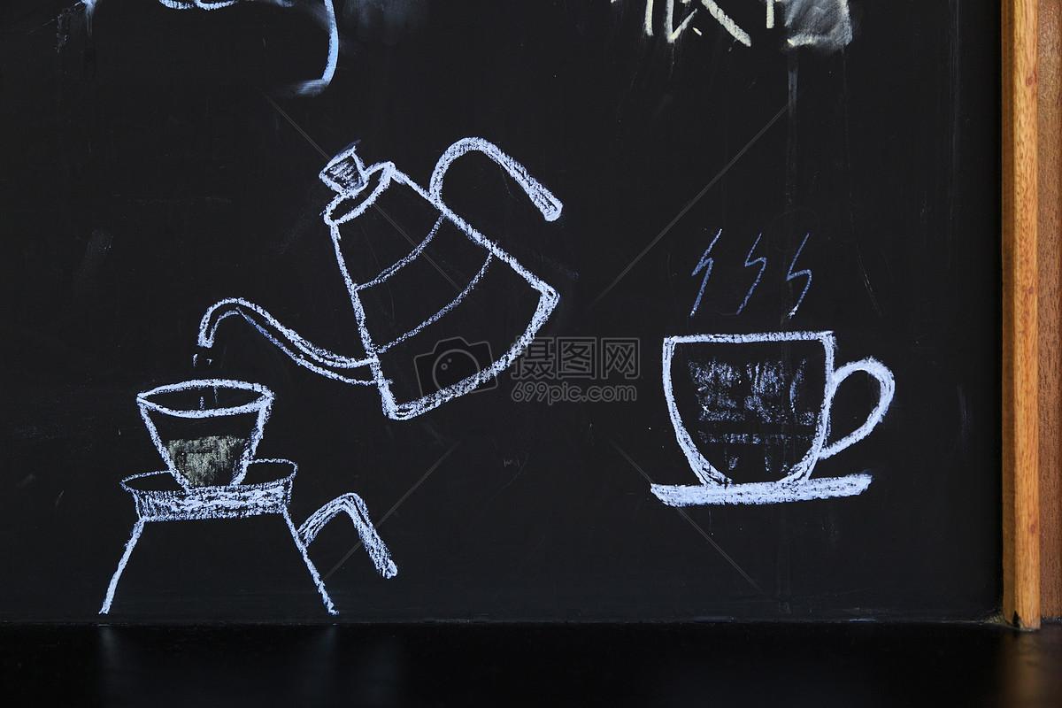 咖啡店的黑板图片