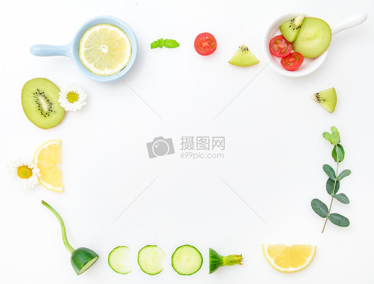 新鲜水果创意平铺摄影