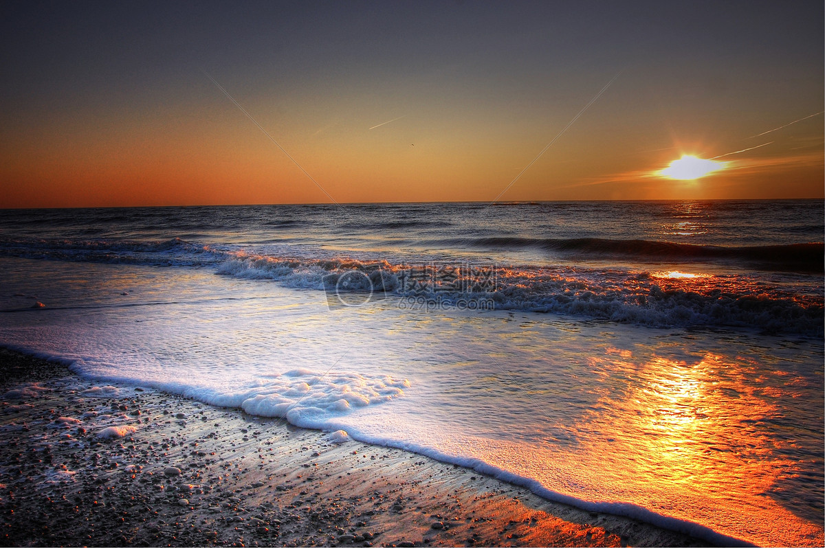 夕阳海滩摄影图片免费下载_自然/风景图库大全_编号