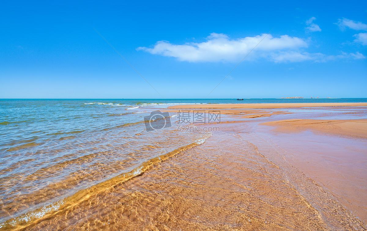 图片 照片 自然风景 蓝天白云沙滩海浪.