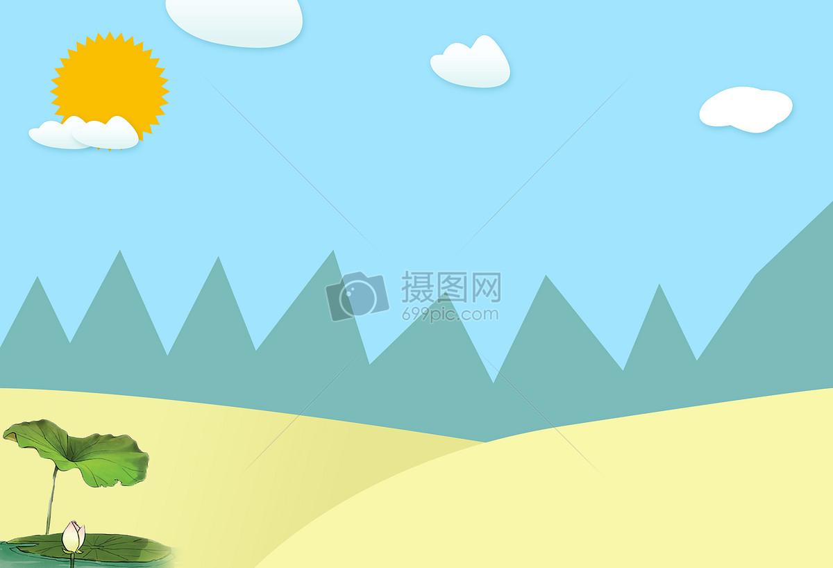 标签: 手绘荷花蓝色山丘小清晰夏至太阳二十四节气之夏至二十四节气