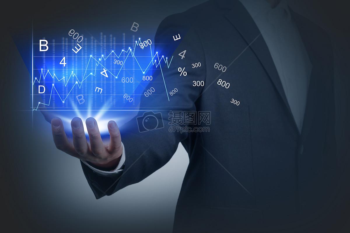 商务男士托手金融曲线图图片素材_免费下载_jpg图片