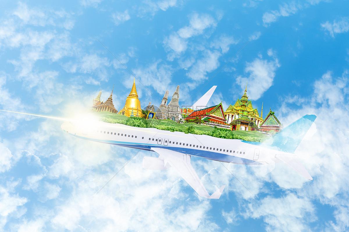 摄图网 创意合成 抽象创意 乘飞机旅行去泰国旅游jpg