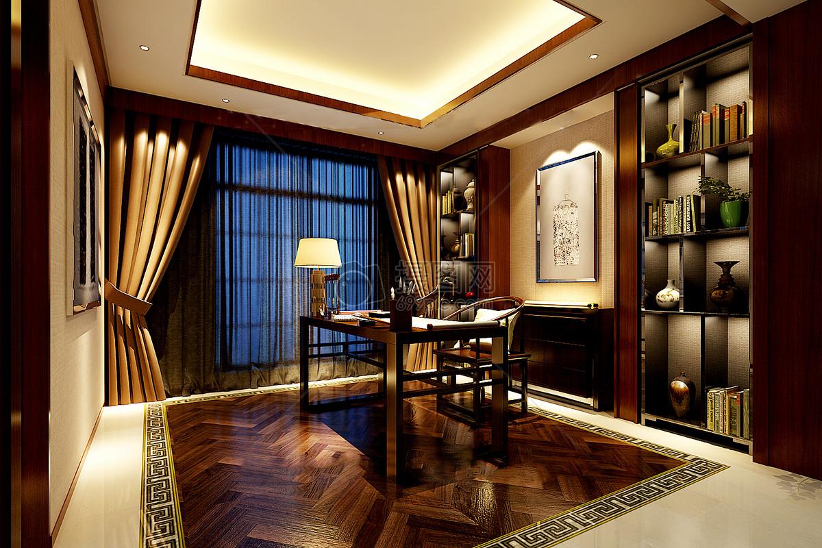 新中式书房效果图