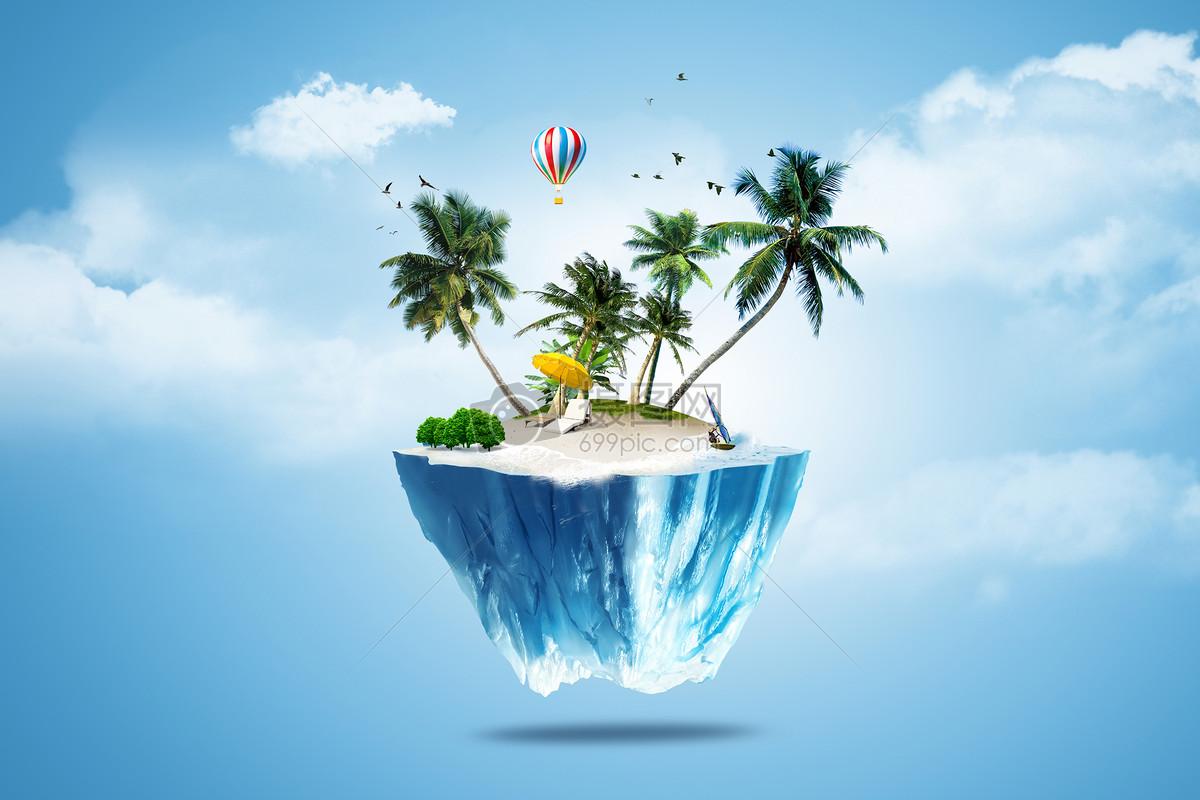 夏日风景合成创意图摄影图片免费下载_背景/素材图库
