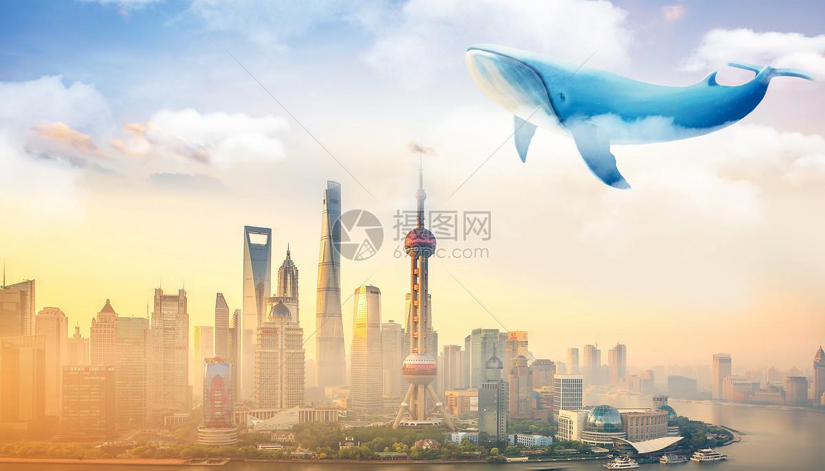 天空云种飞翔的鲸鱼大鱼超现实梦幻壁纸图片素材_免费