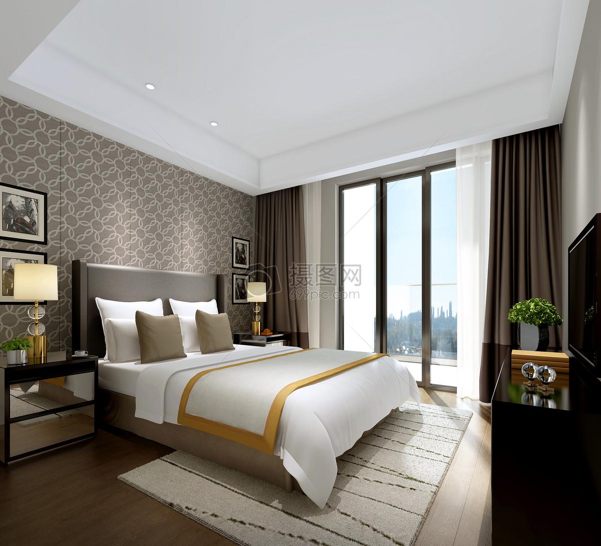 北欧风卧室室内设计效果图
