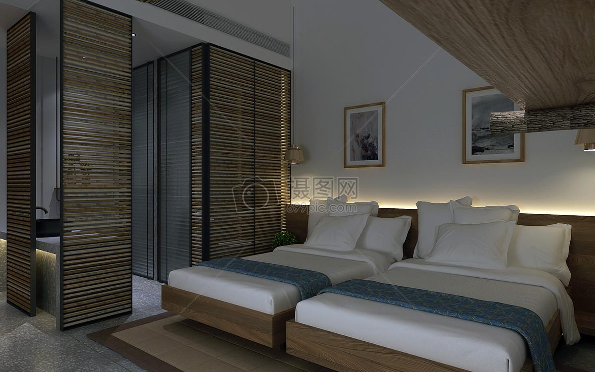 日式简约风民宿室内设计效果图
